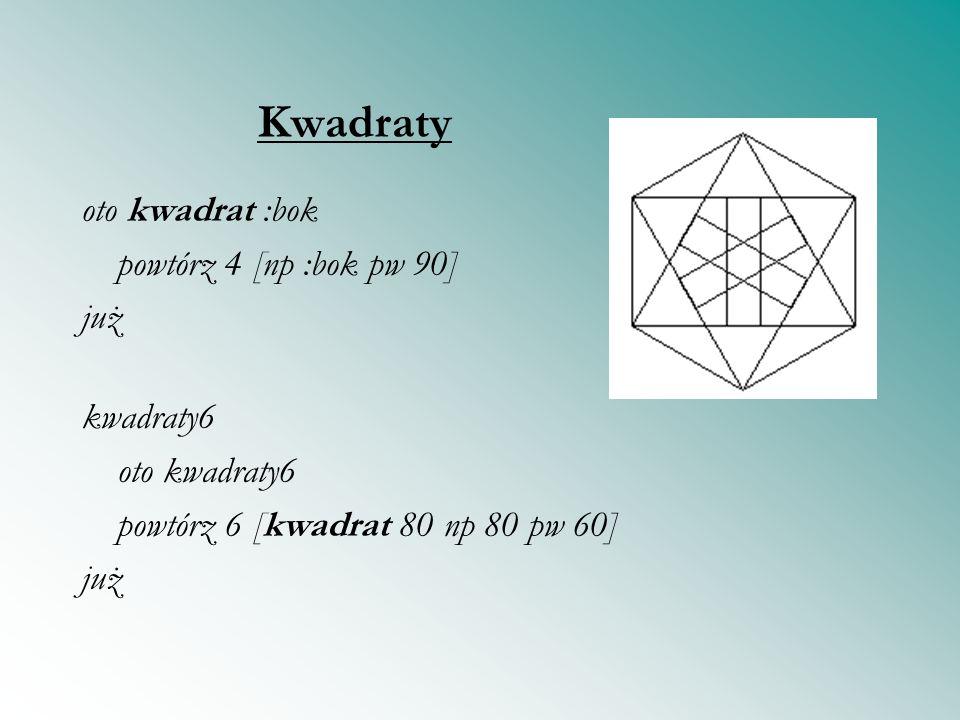 Kwadraty oto kwadrat :bok powtórz 4 [np :bok pw 90] już kwadraty6